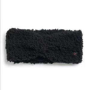 Cuddl Duds Black Fuzzy Winter Headband Knotted NEW